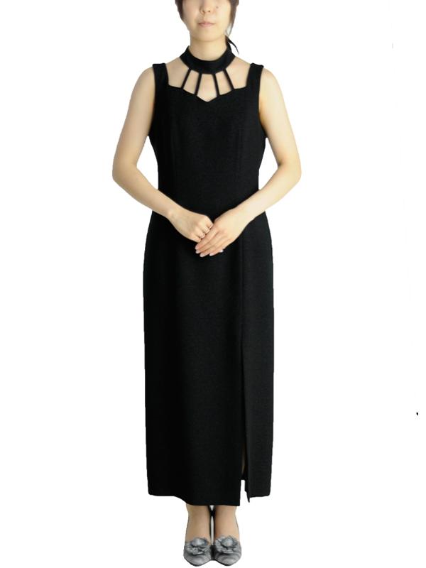 ゲストドレス157黒スリットドレス