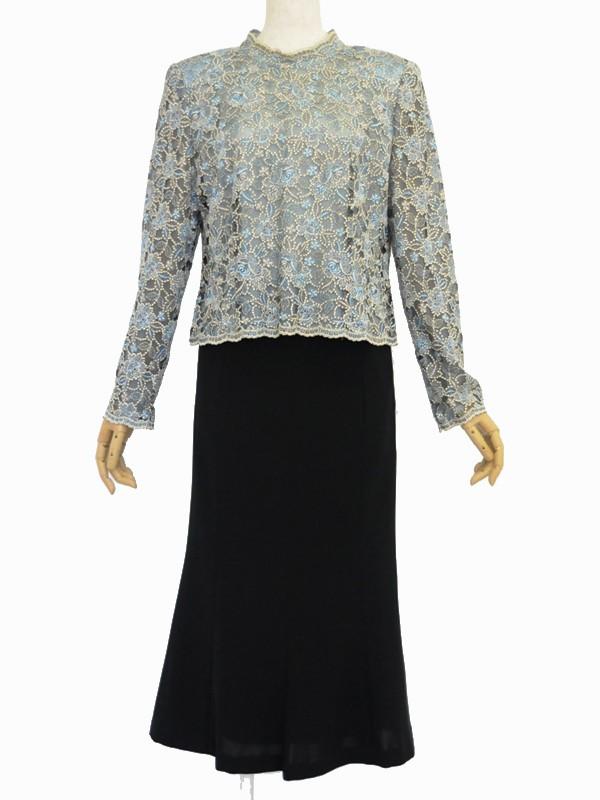 ゲストドレス187上着ブルーフラワー刺繍