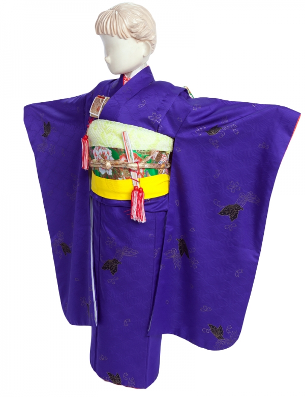 七五三(7女)051B紫色・黒蝶