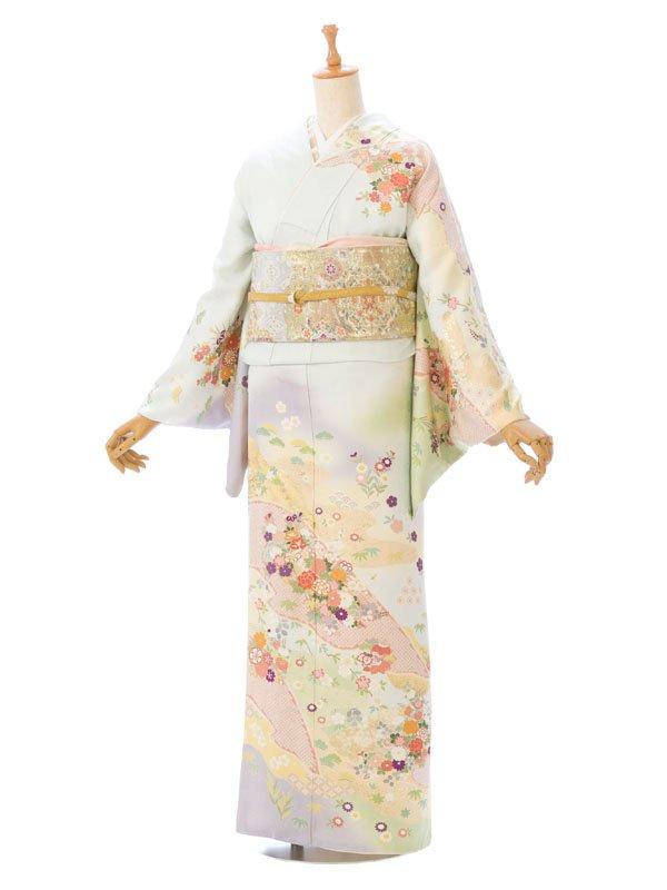 訪問着8L606薄水色 牡丹 枝垂れ桜 花篭