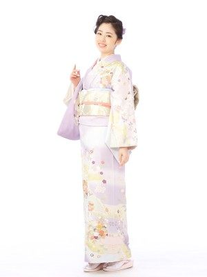 訪問着8L605薄紫 牡丹 枝垂れ桜 花籠