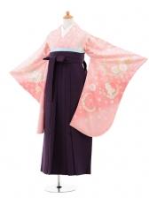 小学生卒業式袴女児jhA002 ピンク花×袴パープ