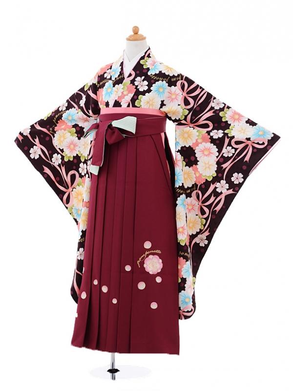 小学生卒業式袴女児A008 ポンポネット茶×エンジ