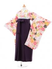小学生卒業式袴女児jhA001 白地ピンク花×袴