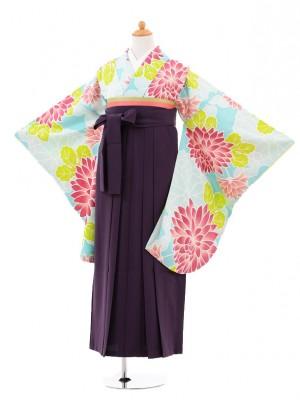 小学生卒業式袴女児jhA004 水色大花×袴パー