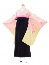 小学生卒業式袴女児jhA003 ピンクイエロー花×袴