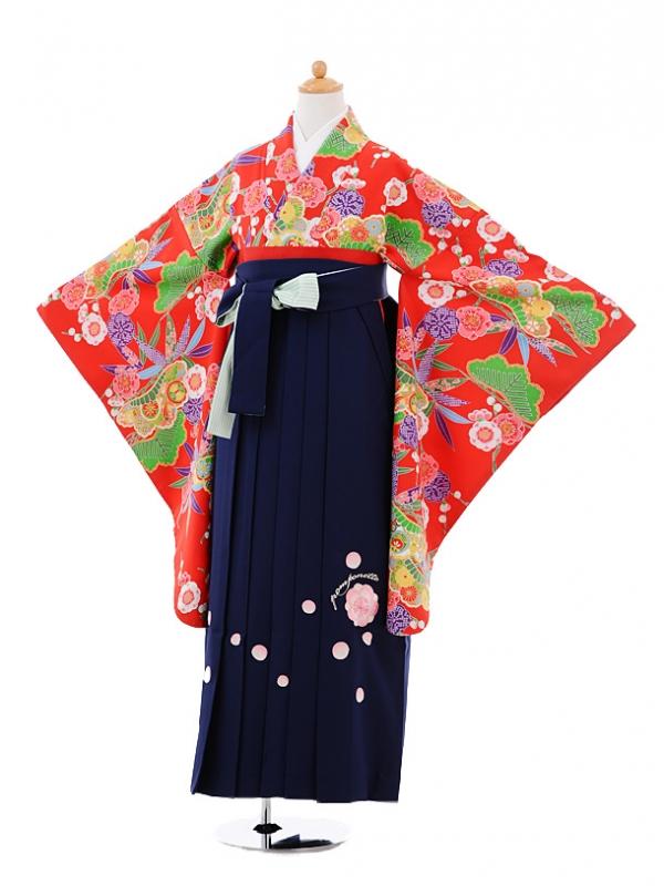 小学生卒業式袴女児A007 赤松竹梅×紺袴