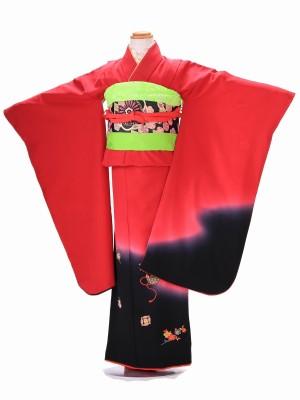 7歳 女の子 結び帯 F019 正絹 赤