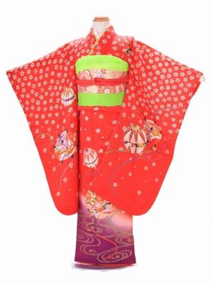 7歳 女の子 結び帯 F012 正絹 赤 毬桜