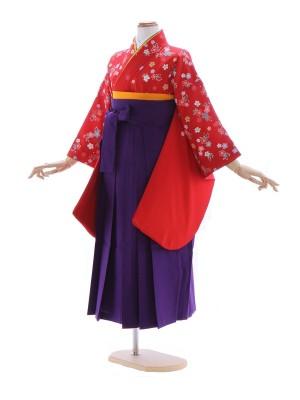 女児ジュニア着物2318/赤 桜花もよう