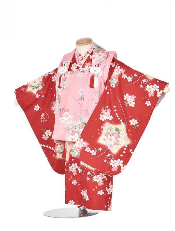 753レンタル(三歳被布)TT205赤ピンク花と星(2歳)