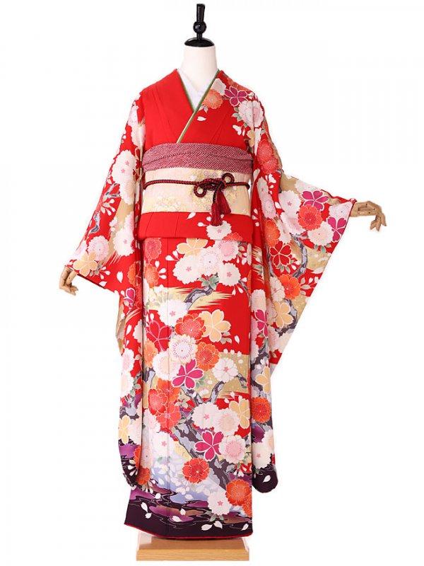 振袖 椿姫赤×紫古典柄 416