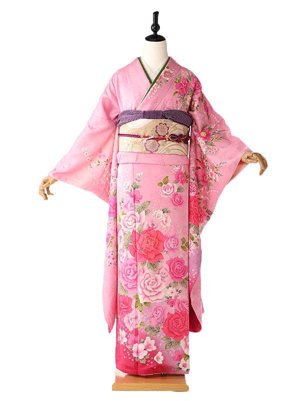 振袖 ピンク 薔薇の花々 FA0392