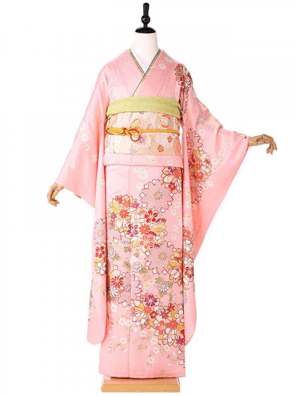 振袖 ピンク 橘桜牡丹 413