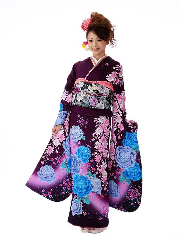 振袖 紫 青薔薇 FA0400
