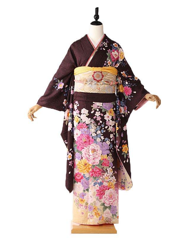 振袖 紫 牡丹の花々 FA0397