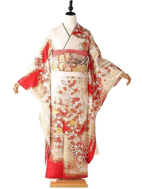 振袖 白×赤 黄金桜流 405
