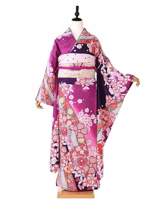 振袖 広幅 紫地 桜に熨斗 FA0361