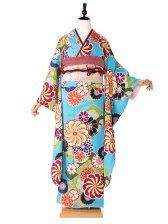 振袖 青×緑 椿姫 菊紋 415