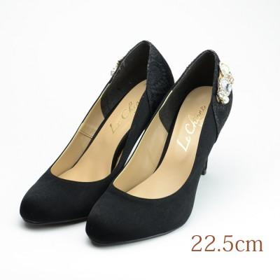 22.5 Le Chione 9cmヒール 黒 ファブリック