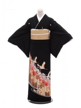 黒留袖レンタル2089松に鶴