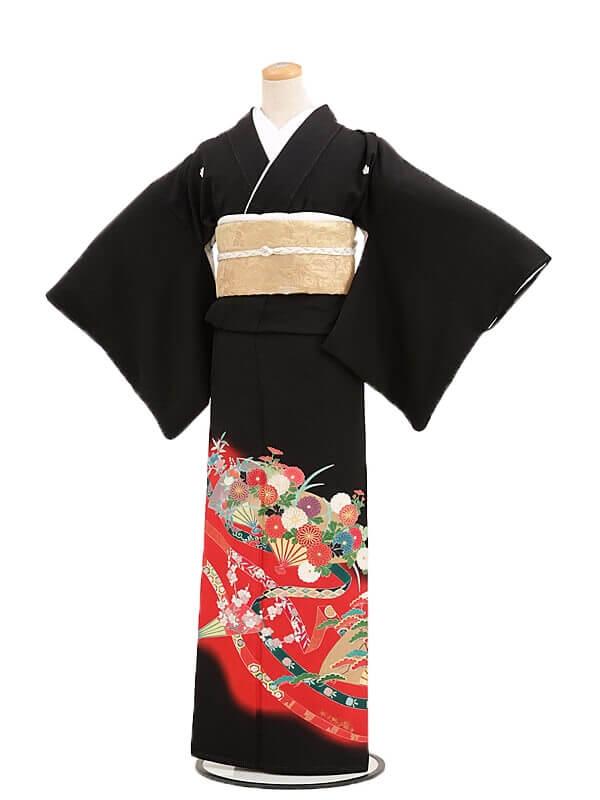 黒留袖レンタル2088扇に四季花