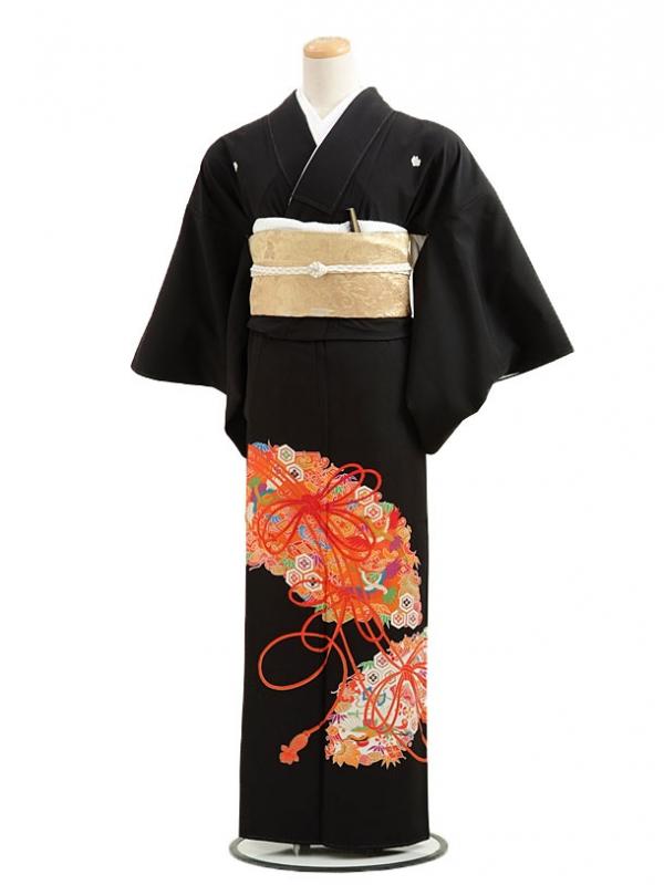 黒留袖レンタルC2003寿扇に結び紐