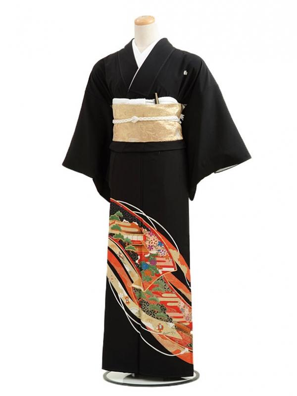 黒留袖レンタルC2007流れ友禅江模様