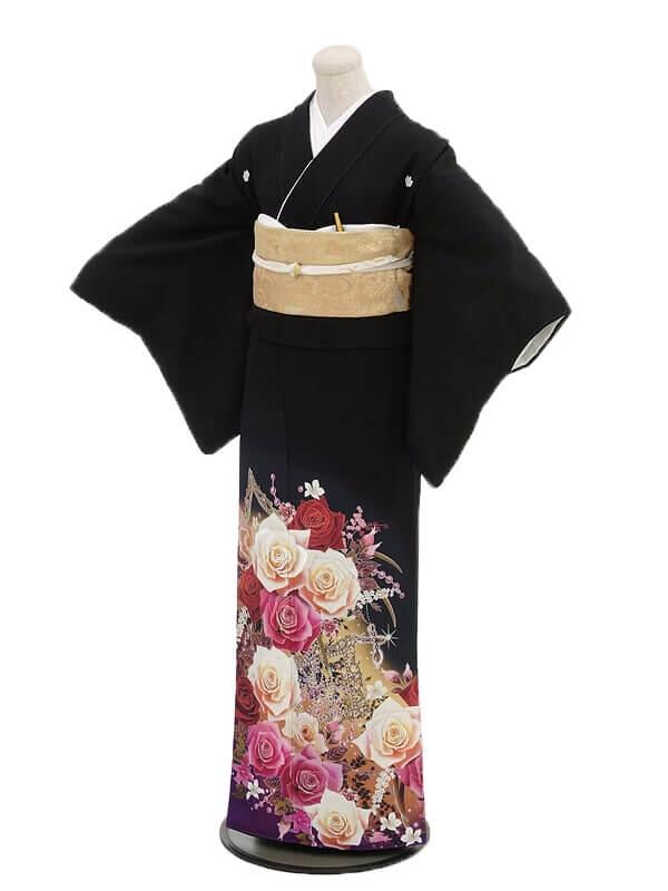 黒留袖レンタル2093ピンクバラ
