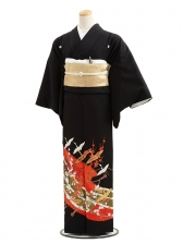 黒留袖C2010組紐と鶴