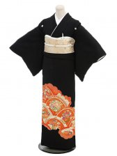黒留袖レンタル2061朱に四季花