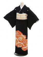 黒留袖2061朱に四季花