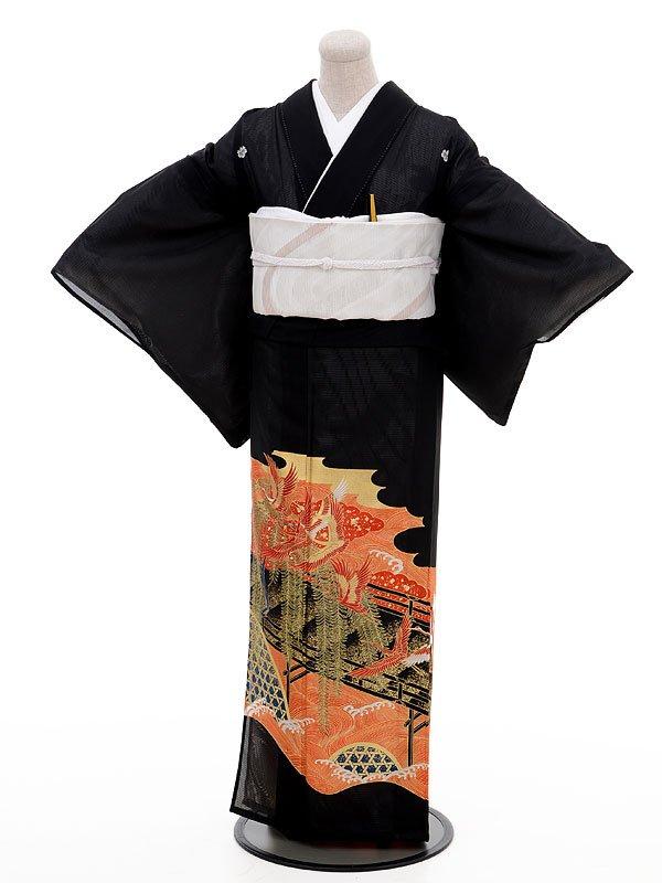 夏留袖2001赤金鶴(化繊 絽)