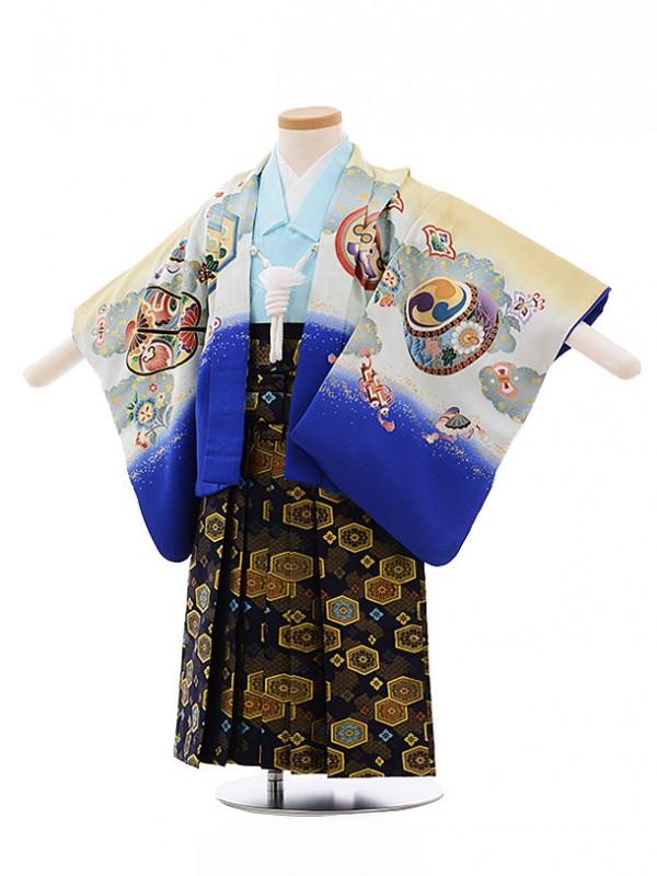 七五三レンタル(2男袴)2176 からし色ぼかし 兜 太鼓