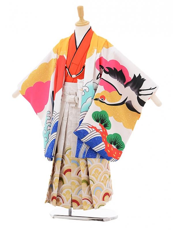 七五三レンタル(3歳男袴)2121花わらべ白赤富士に鶴