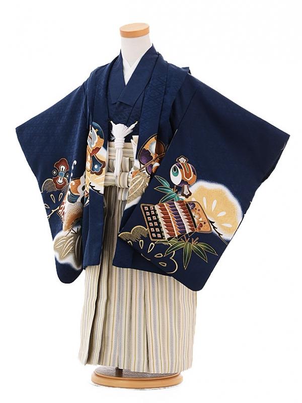 七五三レンタル(3歳男袴)2118紺地小槌かぶと
