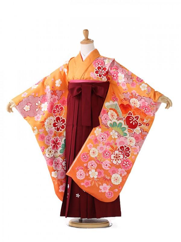 卒園式 ジュニア袴(女の子) オレンジ 橘 7273
