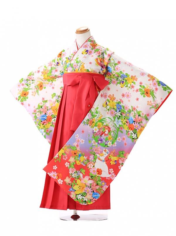 卒園式 ジュニア袴(女の子) 白 Moe 7167