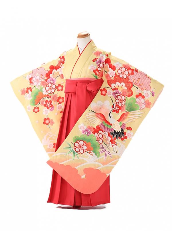 卒園式 ジュニア袴(女の子) 黄色 鶴 7276