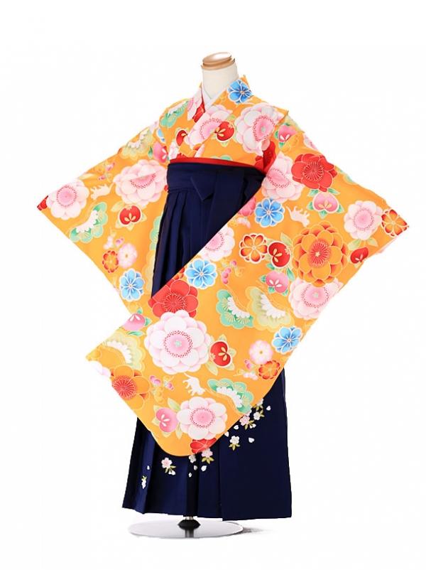 卒園式 ジュニア袴(女の子) オレンジ 猫 7260