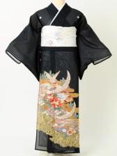 留袖絽204ピンク鶴