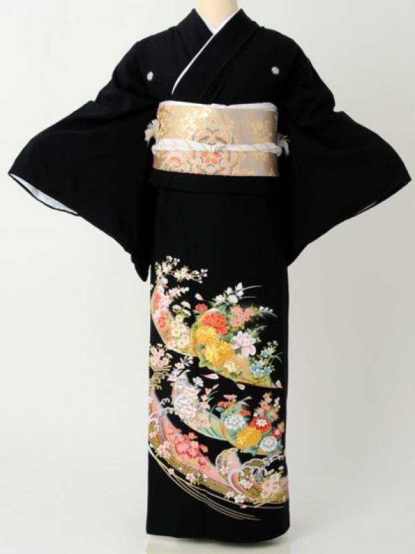 留袖191ぼたんに桜と梅 金銀波