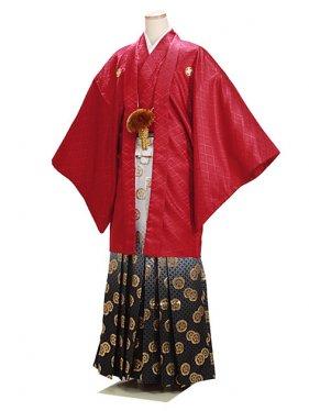 男紋付袴 卒業式 成人式 エンジ赤 Sサイズ