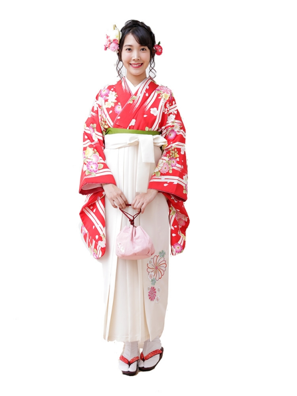 卒業袴0028  赤地に縞模様桜と牡丹 袴白刺繍