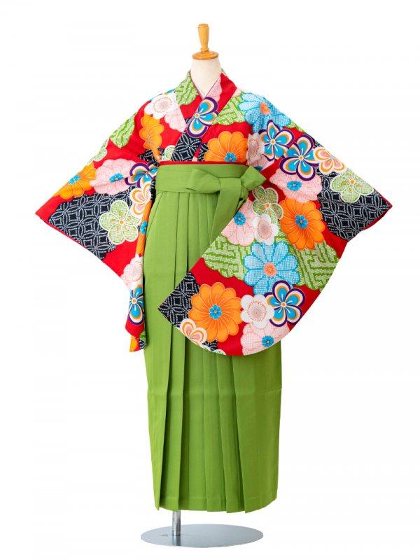 卒業袴0042  赤地にねじり梅とかのこ雲 袴黄緑