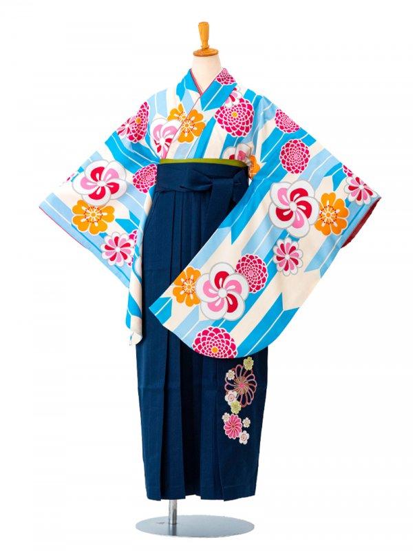卒業袴0019  白地に水色矢絣ねじり梅 袴紺刺繍