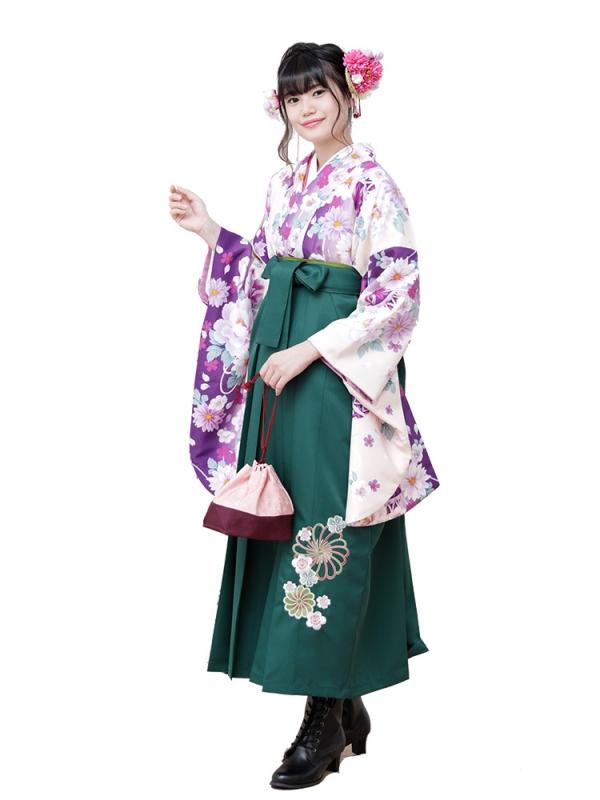卒業袴0030  クリーム地に紫ぼかし牡丹と鞠 袴緑刺繍