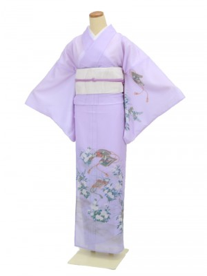 夏着物・付下げ0001 薄紫地に菊と絵巻(化繊(絽))