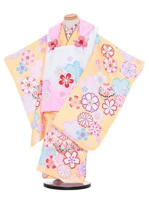 七五三レンタル(3歳女被布)3062 陽気な天使 ピンクぼかし×黄色 まり