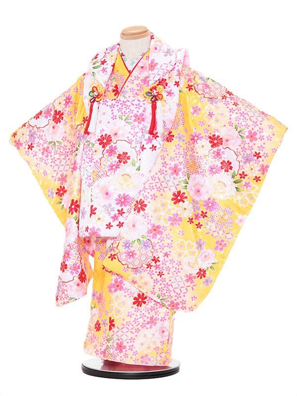 七五三レンタル(3歳女被布)3040 ピンク×黄色 小花